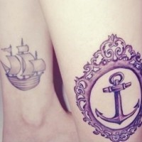 Purple anchor in ornate frame and a ship tattoo on ankle