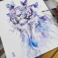 Purple Watercolor Tiger With Butterflies Tattoo Design