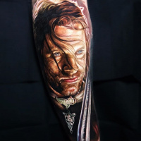 Realistic Aragorn from Lord of the Rings portrait tattoo