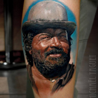 Realistic Bud Spencer portrait tattoo3