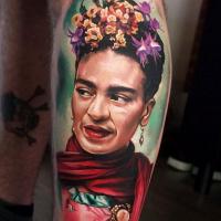 Realistic Frida Kahlo arm tattoo