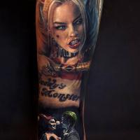 Realistic Harley Quinn tattoo on arm3