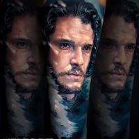 Realistic Jon Snow tattoo3