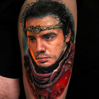 Realistic Kaamelott tattoo on thigh3