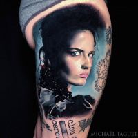 Realistic Penny dreadful tattoo on thigh3