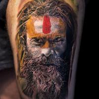 Realistic Sadhu portrait tattoo3