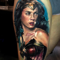 Realistic Wonder Woman portrait tattoo3