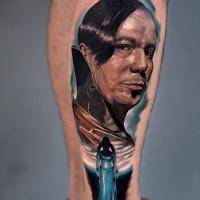 Realistic ZORG portrait tattoo on leg3