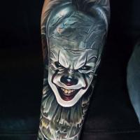 Realistic clown from It movie tattoo