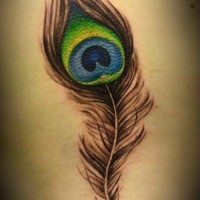Realistic colorful peacock feather tattoo