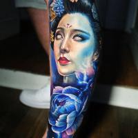 Realistic geisha tattoo on leg