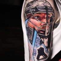 Realistic hockey player tattoo by dave paulo