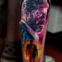Realistic old Logan portrait tattoo on leg3