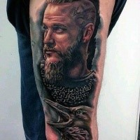 Realistic portrait of Ragnar with crow tattoo on thigh