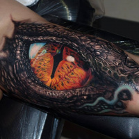Realistic snake eye tattoo on arm