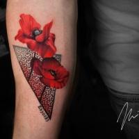 Red poppy flower tattoo