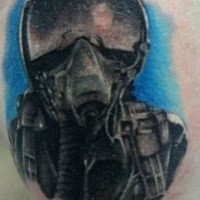 Einfacher illustrativer Stil Colore Kampfpilot Tattoo