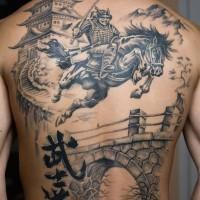 samurai su cavallo e castello tatuaggio pieno di schiena