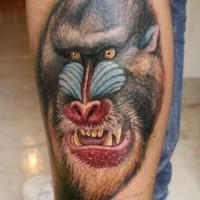 Arm Tattoo vom bösem Pavianskopf im altschulischen Stil