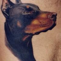 Tattoo mit bedrohlichem Dobermannkopf an der Seite