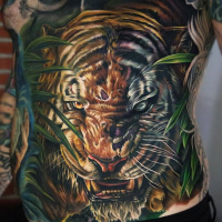 Shere Khan tiger tattoo on lower back