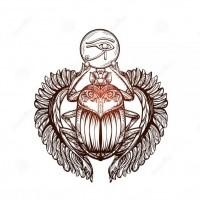Shining Scarab Bug With Flexible Wings Keeping Egyptian Eye Symbol