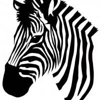 Simple black-and-white zebra head in profile tattoo design ...