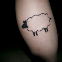 Simple black-ink sheep tattoo on shin