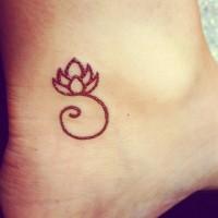 Simple small lotus flower tattoo on foot