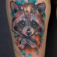 Sketch graphics racoon tattoo on thigh