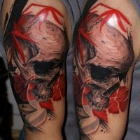 Skull  with red flowers tattoo by Csaba Kolozsvari