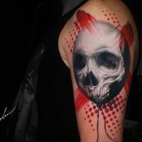 Skull balloon tattoo on shoulder