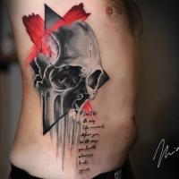 Skull ribs piece tattoo