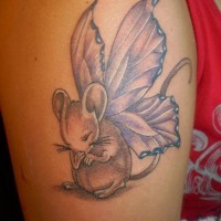 rodent family portrait tattoo on shin. Black Bedroom Furniture Sets. Home Design Ideas