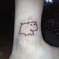 Small cute simple hippo tattoo on ankle