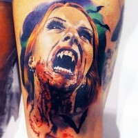 Spectacular detailed colored horror thigh tattoo of zombie woman