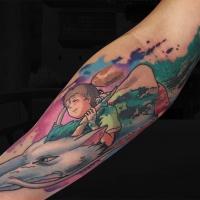 Spirited Away cartoon tattoo on forearm