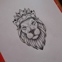 Splendid Grey Dotwork Lion In Crown Tattoo Design Tattooimagesbiz