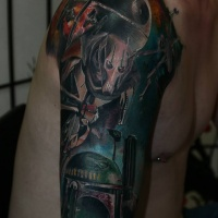 Tatuaje del tema de Star Wars en el hombro