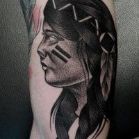 Tattoo painted by Mariusz Trubisz in dotwork style of Indian woman