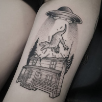 Tattoo with a Trex being extracted from a house by a UFO