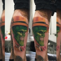 The Mask in yellow hat tattoo on leg