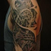 tradizionale nero e bianco robot cablato con ruota dentata tatuaggio su braccio