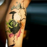 Trash Polka Aquarell Stil seltsame Rose geformte Tattoo