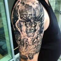 truculent combatte guerrieri vichinghi con ascia tatuaggio su spalla