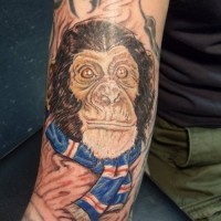 Unique color-ink chimpanzee in blue scarf tattoo on arm