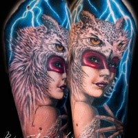 New school style colored shoulder tattoo of tribal woman with owl skull