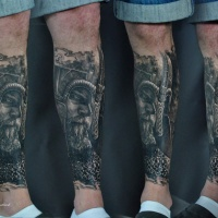 Viking in hamlet tattoo on leg