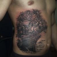 guerriero vichingo in barca tatuaggio su pancia