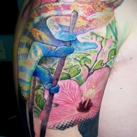 Vivid-colored horned chameleon tattoo on upper arm